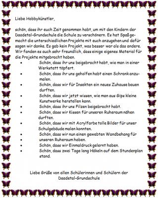 Projekttage 2013 - Danke